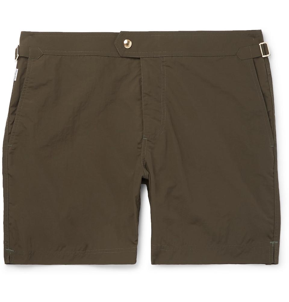 Slim-fit Mid-length Swim Shorts - Green