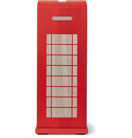 LINLEY Silver-Plated Elm Wood Telephone Money Box in Red