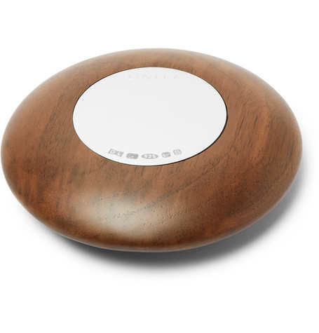 LINLEY Pebble Walnut And Sterling Silver Paperweight in Brown