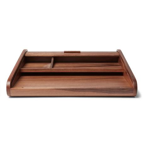 LINLEY Tambour Walnut Desk Tidy in Brown