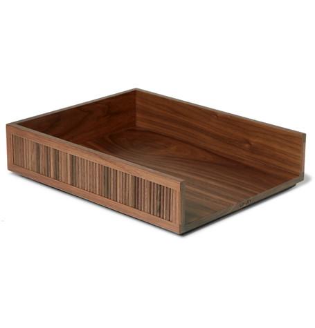 LINLEY Tambour Walnut Desk Tray in Brown
