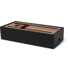 Linley Ebury Full-Grain Leather and Walnut Tech Tidy