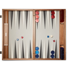 Linley - Walnut Wood and Leather Backgammon Set