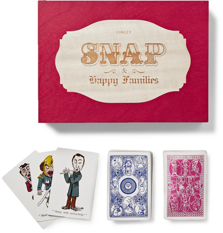 LINLEY Set Of Two Illustrated Playing Cards Game Set in Brown