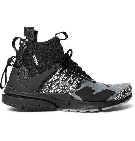 c9243c1f3e2f64 Nike + Acronym Air Presto Mid Leather and Rubber-Trimmed Mesh Sneakers