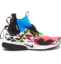 Nike + Acronym Air Presto Mid Leather and Rubber-Trimmed Mesh Sneakers