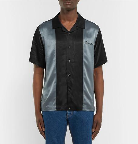 Camp Collar Two Tone Satin Shirt by Stüssy