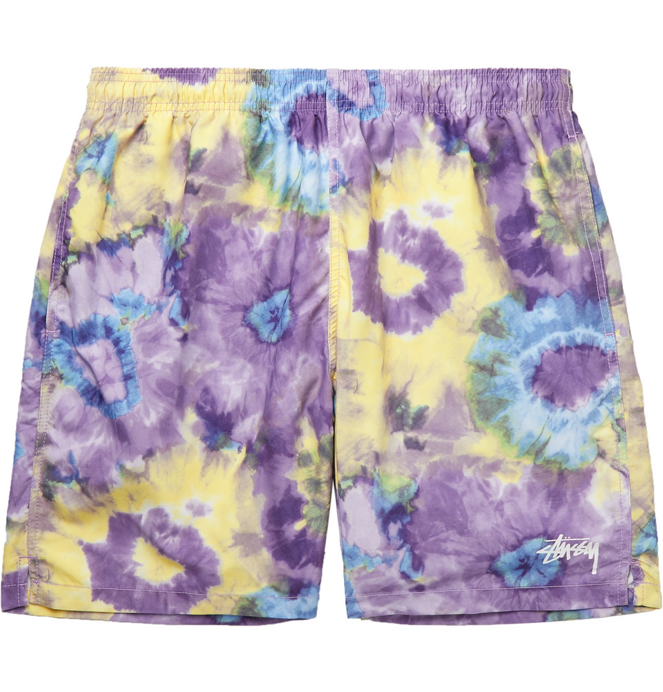 Mid-length Tie-dyed Swim Shorts - Purple