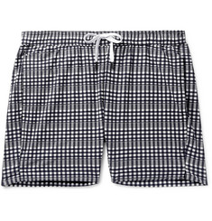 Onia Charles Slim-Fit Mid-Length Checked Seersucker Swim Shorts