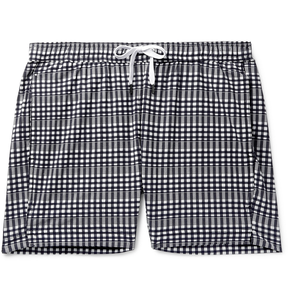 Charles Slim-fit Mid-length Checked Seersucker Swim Shorts - Navy