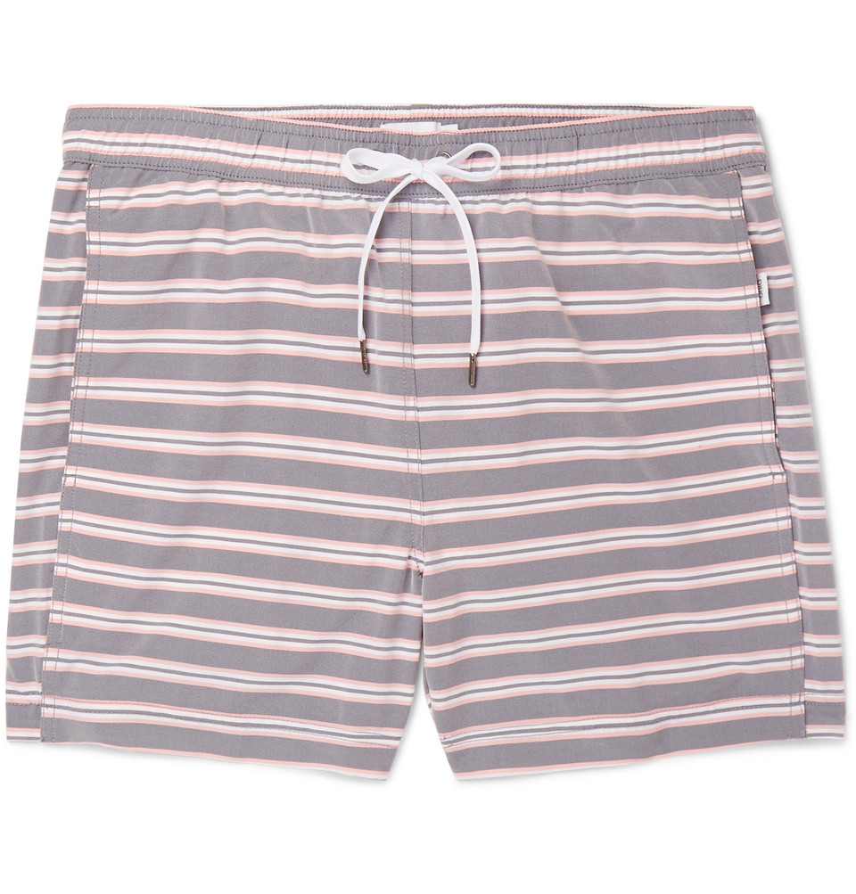 Charles Mid-length Striped Swim Shorts - Gray