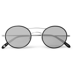 Garrett Leight California Optical - Sanborn 49 Round-Frame Silver-Tone and Acetate Sunglasses