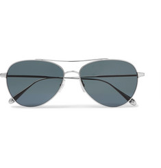 Garrett Leight California Optical Culver 56 Aviator-Style Silver-Tone Sunglasses