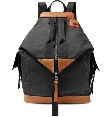 eye/LOEWE/nature – Leather-trimmed Canvas Backpack – Dark gray