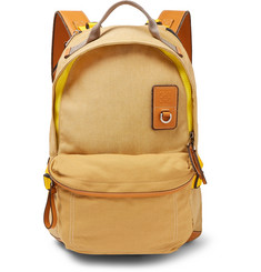 Leather-trimmed Canvas Backpack - Beige