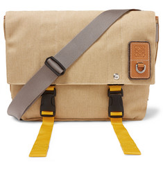 Eln Leather-trimmed Canvas Messenger Bag - Beige