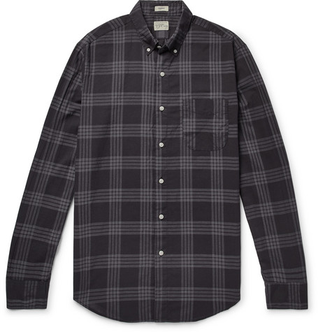 Button Down Collar Over Dyed Checked Cotton Blend Shirt by J.Crew