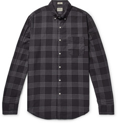 J.Crew Button-Down Collar Over-Dyed Checked Cotton-Blend Shirt
