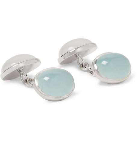 TRIANON 18-Karat White Gold, Aquamarine And Milky Quartz Cufflinks in Blue