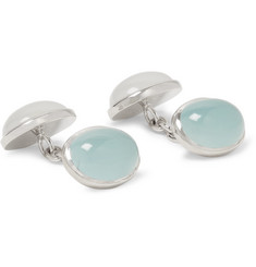 Trianon 18-Karat White Gold, Aquamarine and Milky Quartz Cufflinks