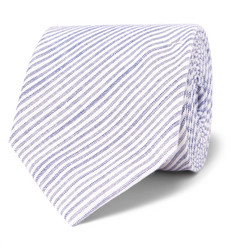 8cm Conroy Striped Mélange Cotton Tie - Blue