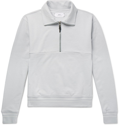 Loopback Cotton Jersey Half Zip Sweatshirt by Mr P.
