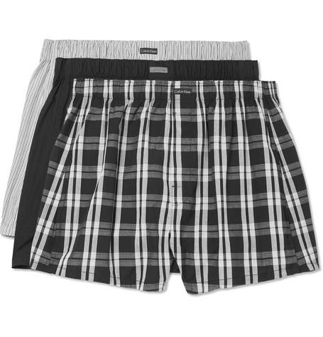 ab771658e Calvin Klein Underwear - Three-Pack Cotton-Blend Boxer Shorts