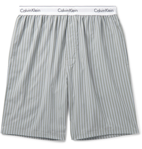 Calvin Klein Underwear Striped Cotton-Poplin Pyjama Shorts