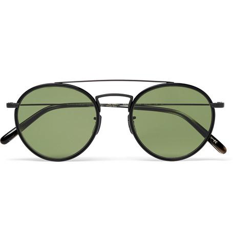 Oliver Peoples Ellice Round-frame Metal Sunglasses In Black