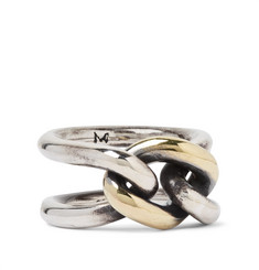 M.Cohen Chain Link 18-Karat Gold and Sterling Silver Ring