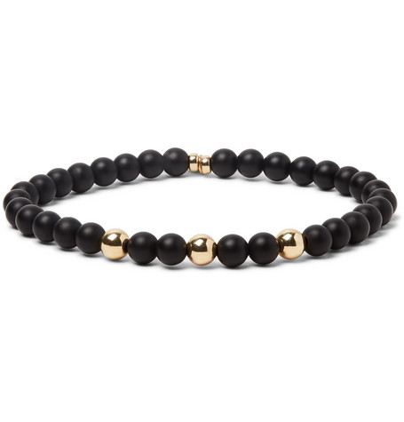PEYOTE BIRD Onyx And 14-Karat Gold-Plated Bracelet in Black