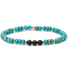 Peyote Bird Turquoise, Onyx and 14-Karat Gold-Plated Bracelet