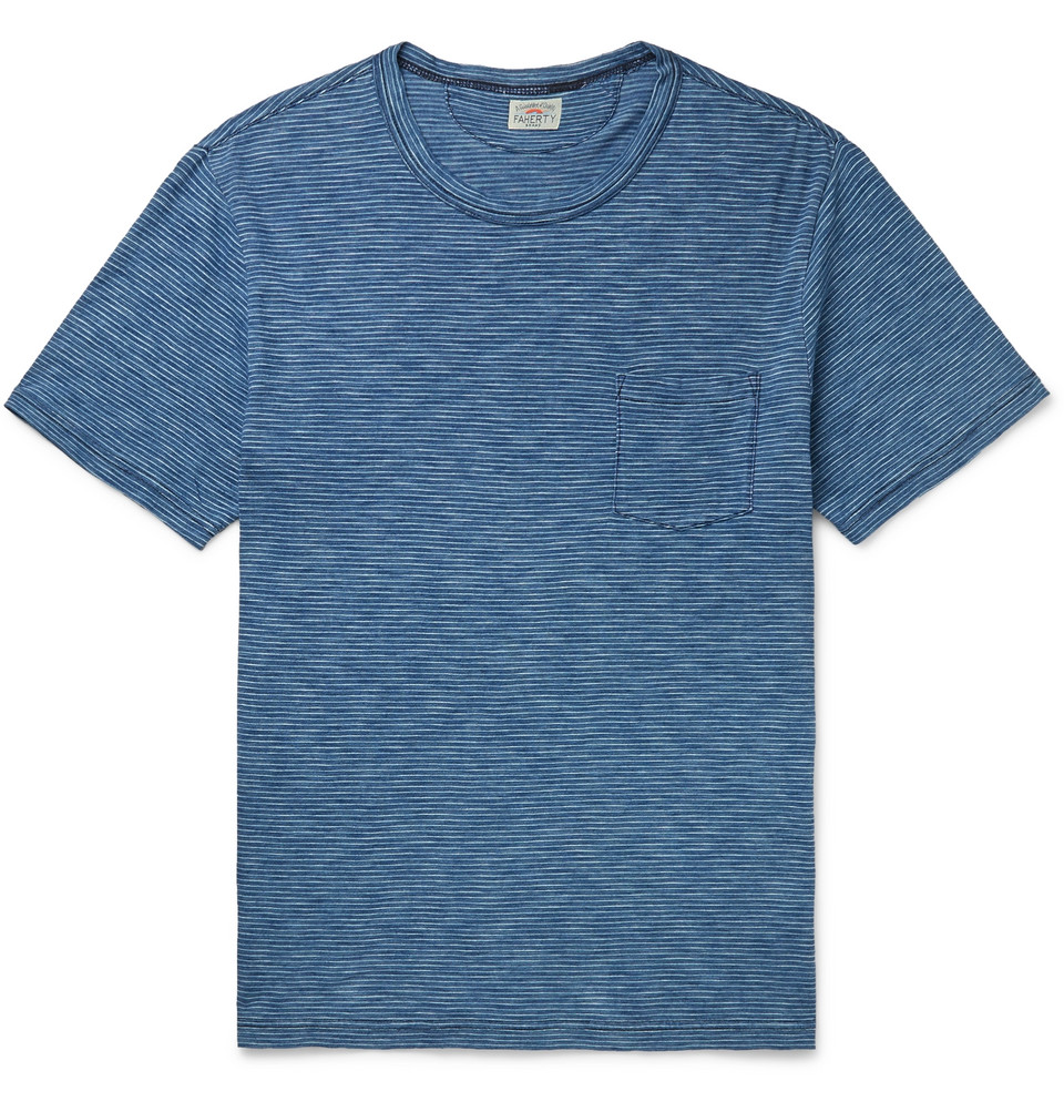 Striped Slub Cotton-jersey T-shirt - Blue