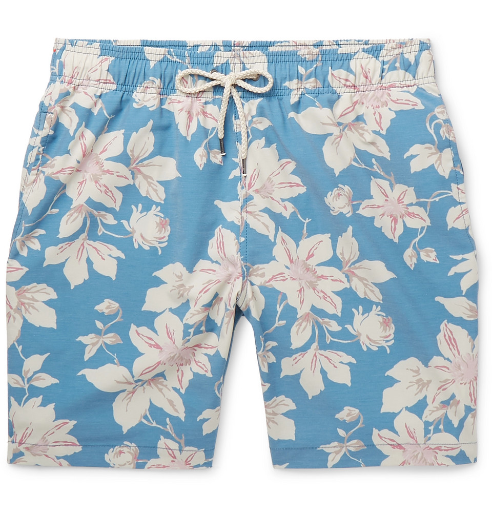 Beacon Wide-leg Long-length Floral-print Swim Shorts - Blue