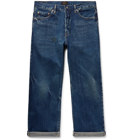 Cropped Washed Selvedge Denim Jeans by Chimala
