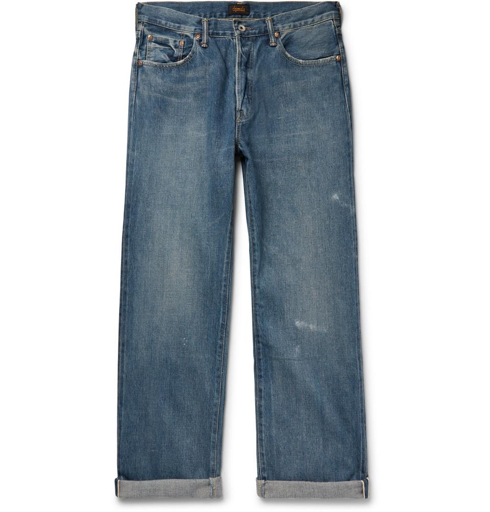 Wide-leg Washed Selvedge Denim Jeans - Mid denim