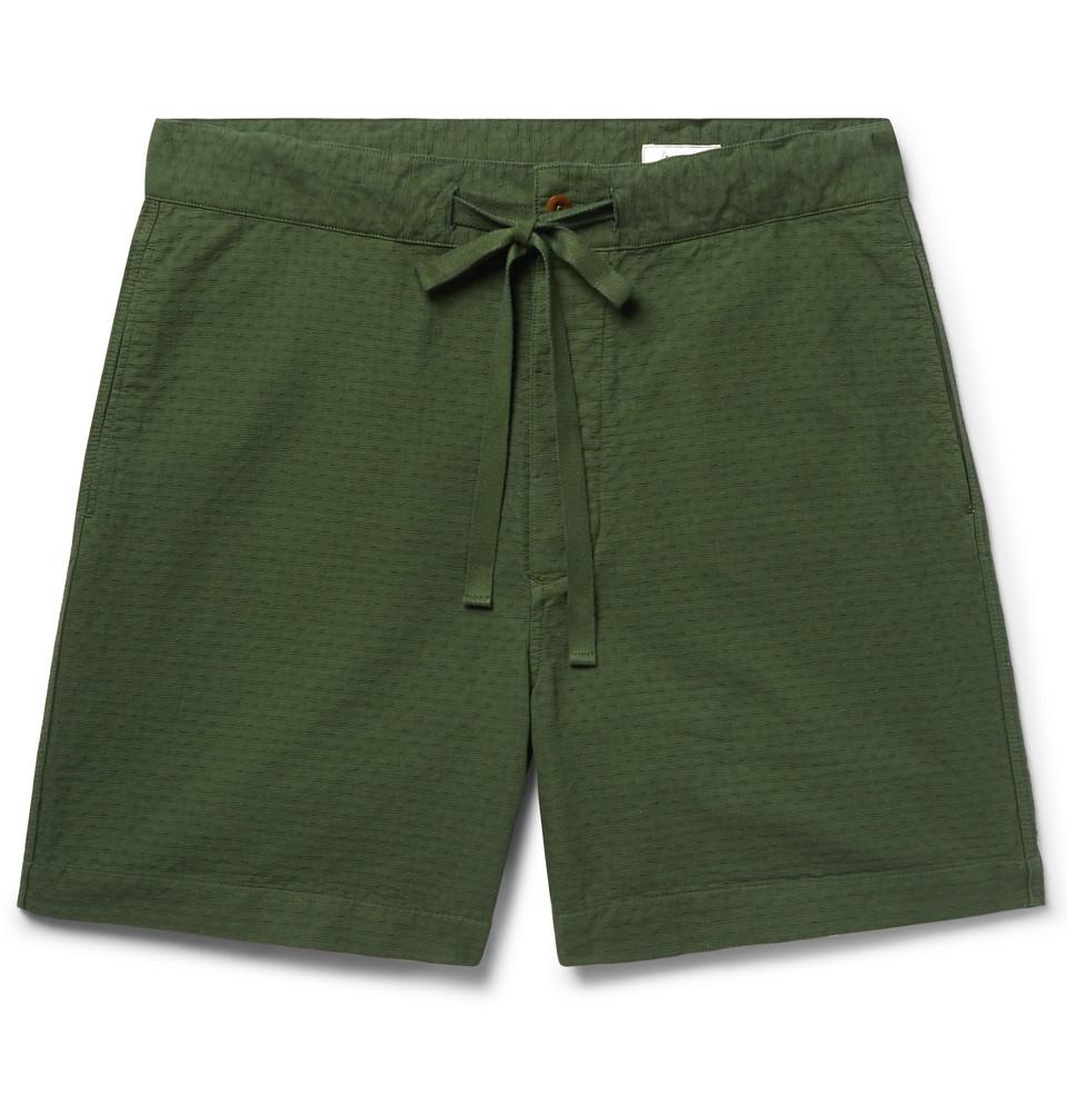 Cotton-jacquard Drawstring Shorts - Dark green