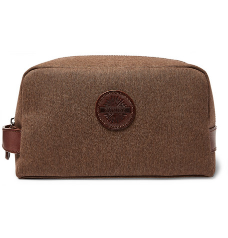 JAMES PURDEY & SONS Leather-Trimmed Nettle Cotton-Canvas Wash Bag - Brown