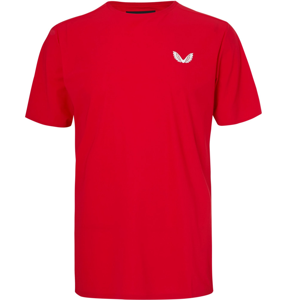 Leo Mesh-panelled Stretch-jersey T-shirt - Red