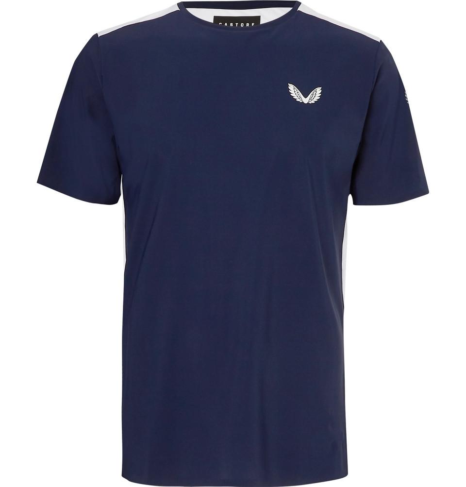 Leo Mesh-panelled Stretch-jersey T-shirt - Navy