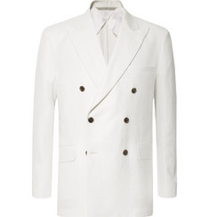 Freemans Sporting Club White Double-Breasted Herringbone Linen Suit Jacket