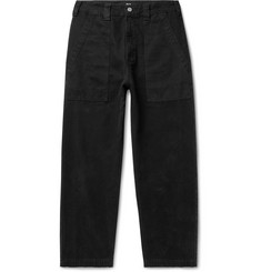 BILLY Cropped Herringbone-Trimmed Cotton-Canvas Trousers