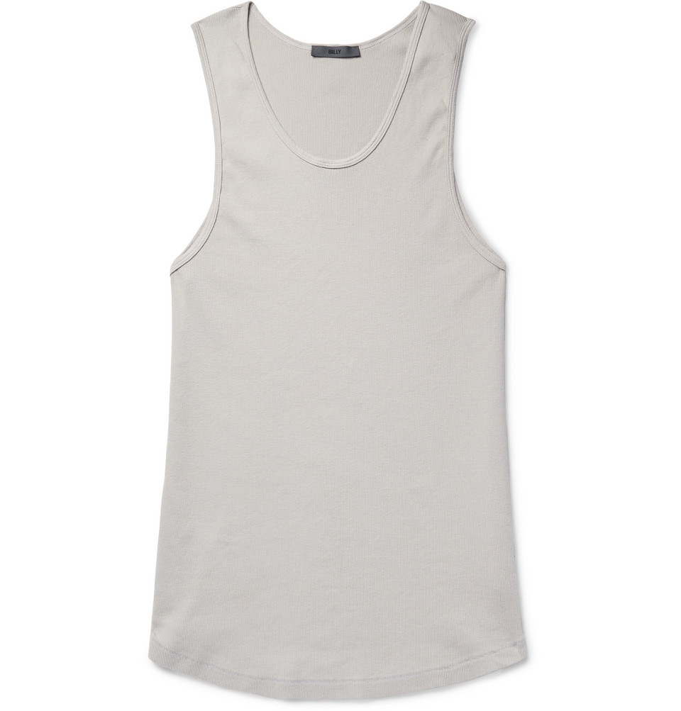 Colton Ribbed Cotton-jersey Tank Top - Gray