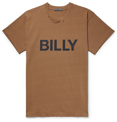 BILLY Logo-Print Distressed Cotton-Jersey T-Shirt