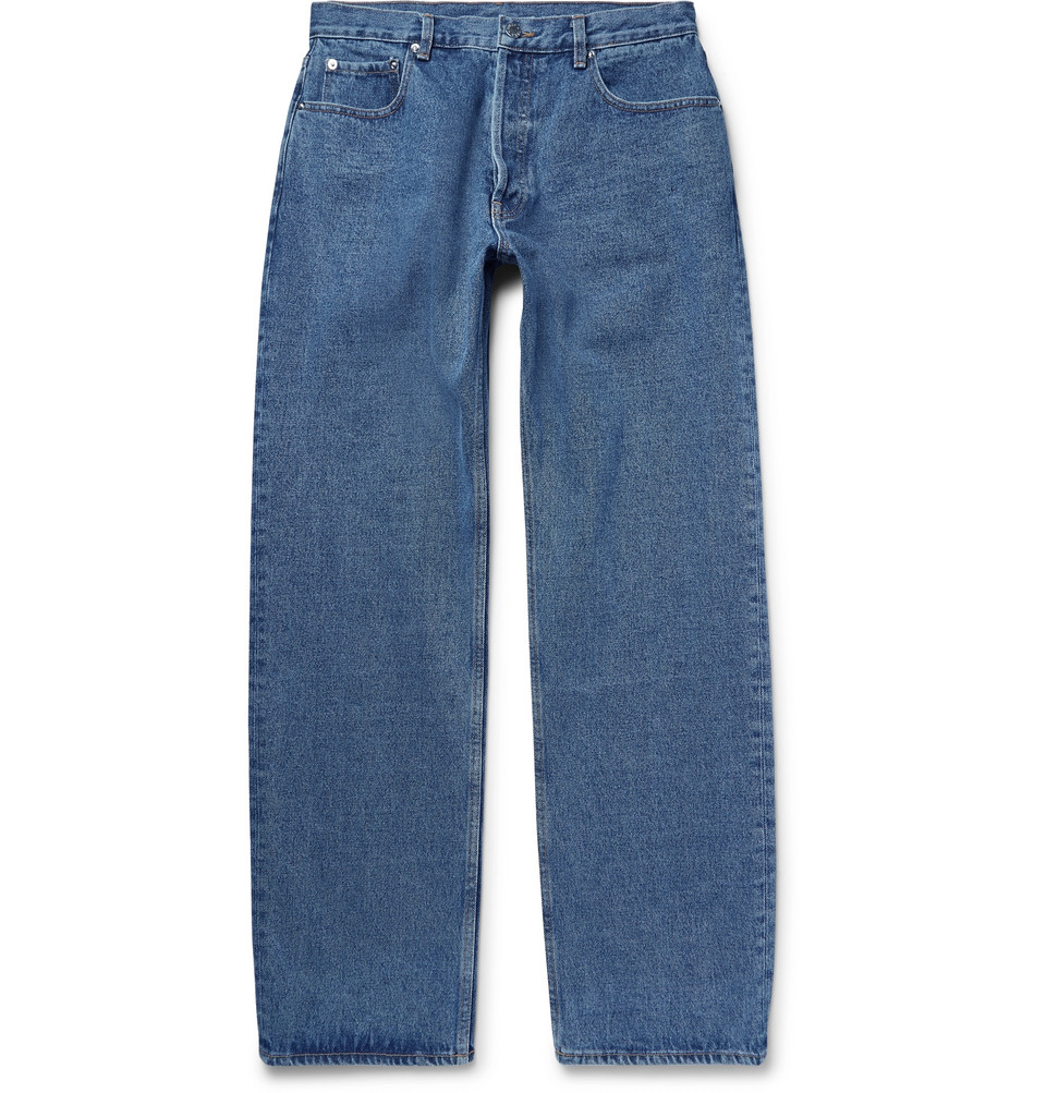 Wide-leg Denim Jeans - Mid denim