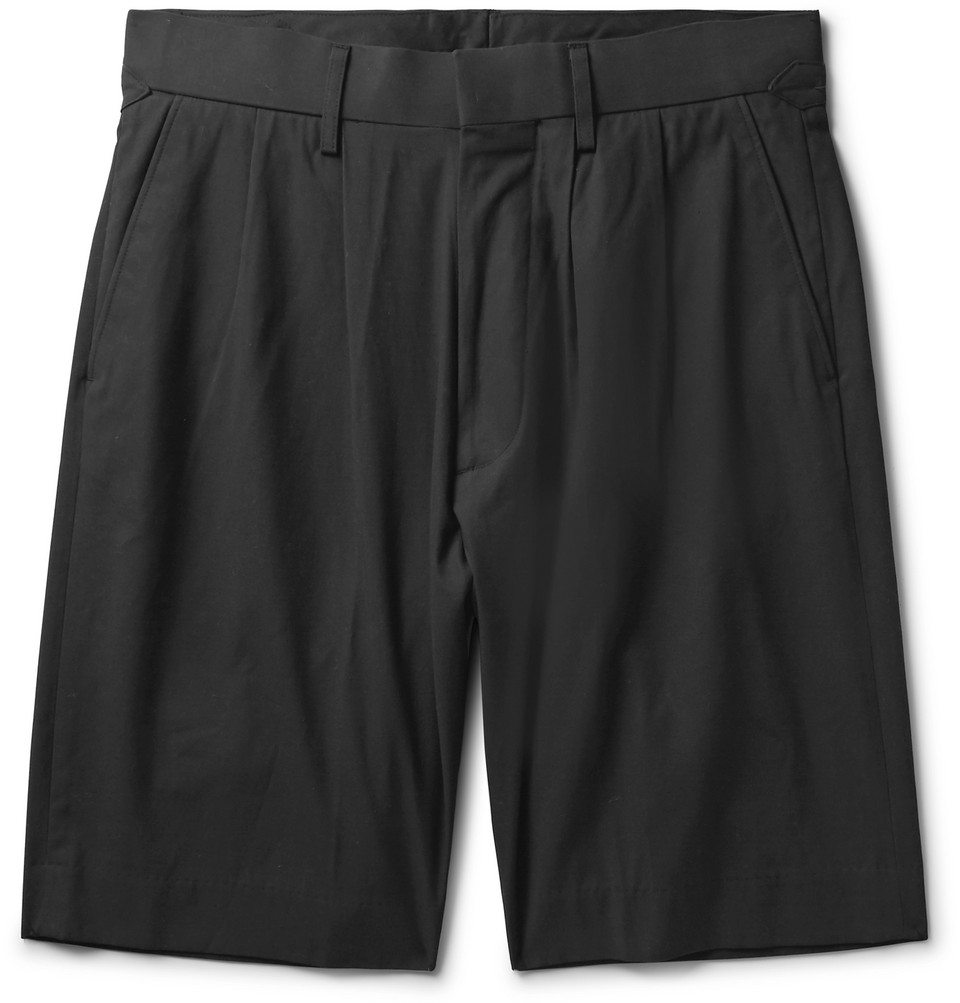 Cotton-gabardine Shorts - Black