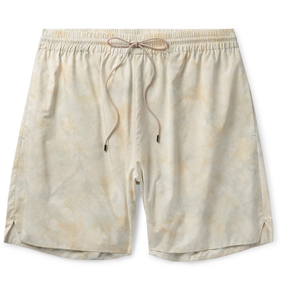 Tie-dyed Cotton-blend Drawstring Shorts - Cream