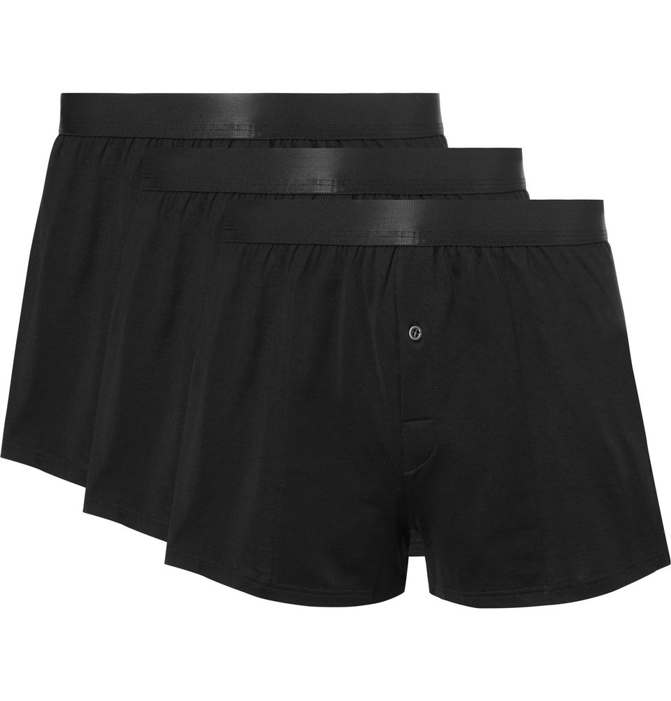 Three-pack Cotton-jersey Boxer Shorts - Black