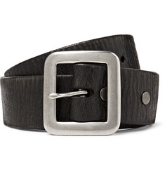 RRL - 3.5cm Black Burlington Distressed Leather Belt