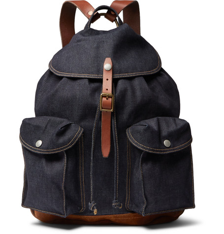 5d35a2a29cca Rrl Riley Leather And Suede-Trimmed Denim Backpack - Navy - One Siz